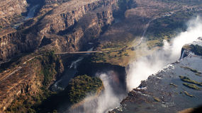 Victoria falls and bridge from the air Royalty Free Stock Photos
