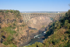 Victoria Falls Bridge crossing Zambezi River Stock Photos