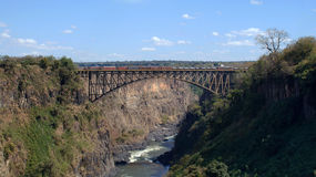 Victoria falls bridge from Zambia Royalty Free Stock Photo