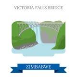Victoria Falls Bridge Zimbabwe Flat historic vecto. Victoria Falls Bridge in Zimbabwe. Flat cartoon style historic sight showplace attraction web site vector Royalty Free Stock Photo