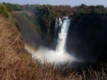 Victoria Falls con il Rainbow Fotografie Stock