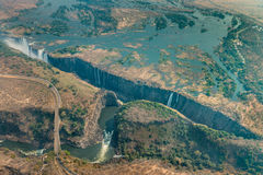 Victoria Falls at drought, aerial shot Royalty Free Stock Images