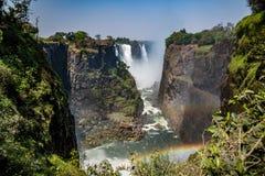 Victoria Falls en un día soleado en Zimbabwe Fotos de archivo libres de regalías