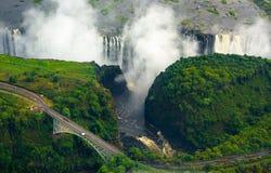 Victoria Falls en Zimbabwe y Zambia foto de archivo libre de regalías
