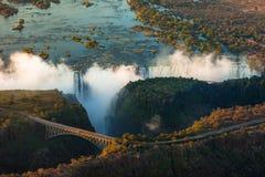 Victoria Falls från luften Arkivbilder