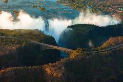 Victoria Falls från luften Arkivfoto