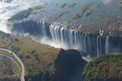 Victoria Falls. From a helicopter royalty free stock image
