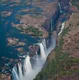 Victoria Falls. A helicopter view of Victoria Falls, Zimbabwe, during the dry season royalty free stock photography