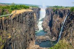 Victoria Falls livingstone, zambia Royaltyfria Foton