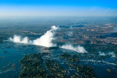 Victoria Falls Livingstone Zambia - 7 maravillas del mundo foto de archivo libre de regalías