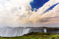 The Victoria falls with mist from water Royalty Free Stock Images