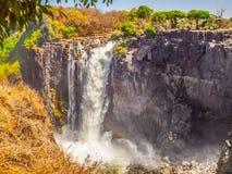 Victoria Falls op Zambezi Rivier Droog seizoen Grens tussen Zimbabwe en Zambia, Afrika Stock Afbeelding