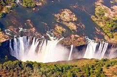 Victoria Falls, op Zambezi Rivier, Zimbabwe en Zambia stock fotografie
