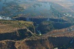 Victoria Falls, opinión del helicóptero Sitio de la herencia de la UNESCO, Zimbabwe, África fotografía de archivo