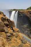 Victoria Falls & regnbåge, Sydafrika - 11/2013 Royaltyfri Foto