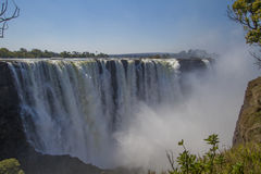Victoria Falls. With spray in Zimbabwe Stock Photo