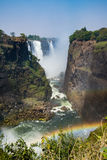 Victoria falls in a sunny day in Zimbabwe. Victoria falls in a sunny day Royalty Free Stock Photography