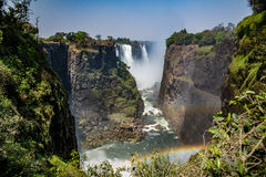 Victoria falls in a sunny day in Zimbabwe. Victoria falls in a sunny day Royalty Free Stock Photos