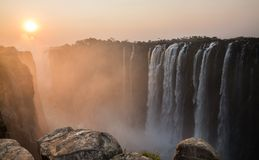 Victoria Falls sunset from Zambia side Royalty Free Stock Photo