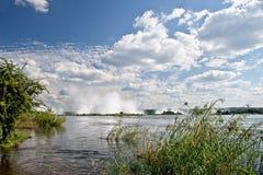 Victoria falls upstream. Zambezi riverZambia Royalty Free Stock Photo