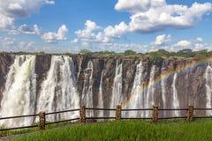 Victoria Falls van de kant van Zambia royalty-vrije stock afbeelding
