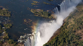 Victoria Falls. Waterfall in the zambezi river from the air between Zambia and Zimbabwe royalty free stock image