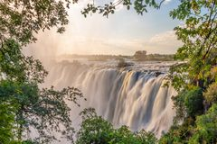 Victoria falls on Zambezi river, between Zambia and Zimbabwe. Africa stock photos