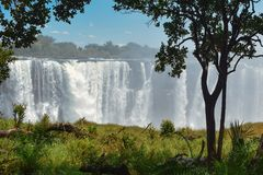 Victoria Falls. And Zambezi River, Zimbabwe royalty free stock photo