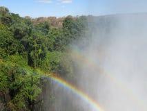 Victoria Falls Zambia Zimbabwe Double regnbåge royaltyfri bild