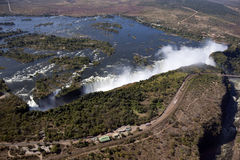 Victoria Falls - Zimbabwe. Aerial view of Victoria Falls on the border of Zimbabwe and Zambia Stock Image