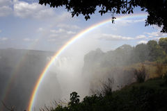 Victoria Falls - Zimbabwe. Rainbows in the spray at Victoria Falls on the Zimbabwe and Zambia border Royalty Free Stock Photo