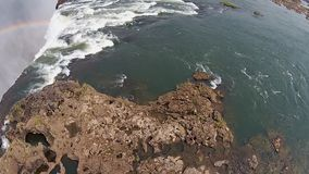 Victoria Falls Zimbabwe, Aerial video, Africa. stock video footage