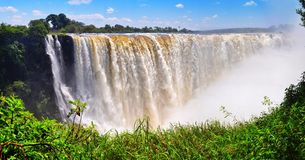 Victoria Falls. In Zimbabwe Frontal view royalty free stock images