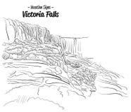 Victoria Falls Zimbabwe Landmark Sketch. Hand drawn Vector Outline Artwork Royalty Free Stock Image