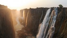 Victoria Falls Zimbabwe, video aereo, Africa archivi video