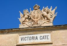Victoria Gate Crest, Valletta. View of the coat of arms on top of Victoria Gate built from limestone, Valletta, Malta, Europe Royalty Free Stock Images