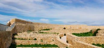 Ancient walls of Citadel, Victoria, Malta. Victoria, Gozo. Ancient ruins inside the Citadel Royalty Free Stock Image