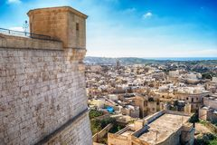 Victoria, Gozo island, Malta: aerial view from the Cittadella. Also known as Citadel, Castello Royalty Free Stock Images