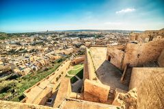 Victoria, Gozo island, Malta: aerial view from the Cittadella. Also known as Citadel, Castello Stock Images