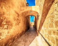 Victoria, Gozo island, Malta: the Cittadella. Victoria, Gozo island, Malta: narrow street in the Cittadella, also known as Citadel, Castello Royalty Free Stock Photo
