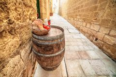 Victoria, Gozo island, Malta: medieval food in the Cittadella. Also known as Citadel, Castello Royalty Free Stock Image