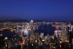 Victoria Habour, Hong- Kongnachtansicht Stockbild