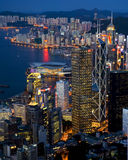 Victoria-Hafen-Nachtszene vom hohen Winkel Stockbild