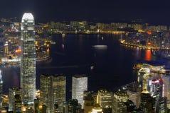 Victoria-Hafen-Nachtszene vom hohen Winkel Lizenzfreie Stockfotos