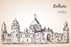 Victoria-hall - Sketch of indian city Kolkata. Isoated on whita background Stock Images