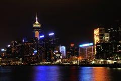 Victoria hamn på natten Fotografering för Bildbyråer