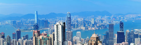 Victoria Harbor aerial view Royalty Free Stock Image