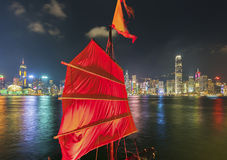 Victoria Harbor de Hong Kong City la nuit Photographie stock
