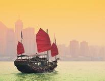 Victoria Harbor Hong Kong. Sailing in Victoria Harbor in Hong Kong Stock Image