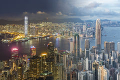 Victoria harbor of Hong Kong City. From day to night royalty free stock images